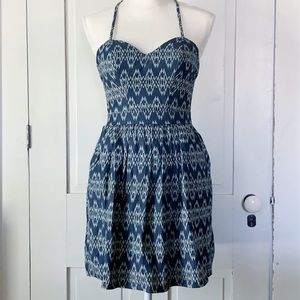 5/$20 - Xtraordinary denim ikat cross strap dress